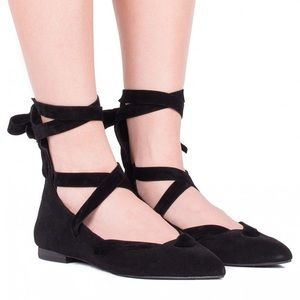 Jeffrey Campbell Susy black suede lace up flats